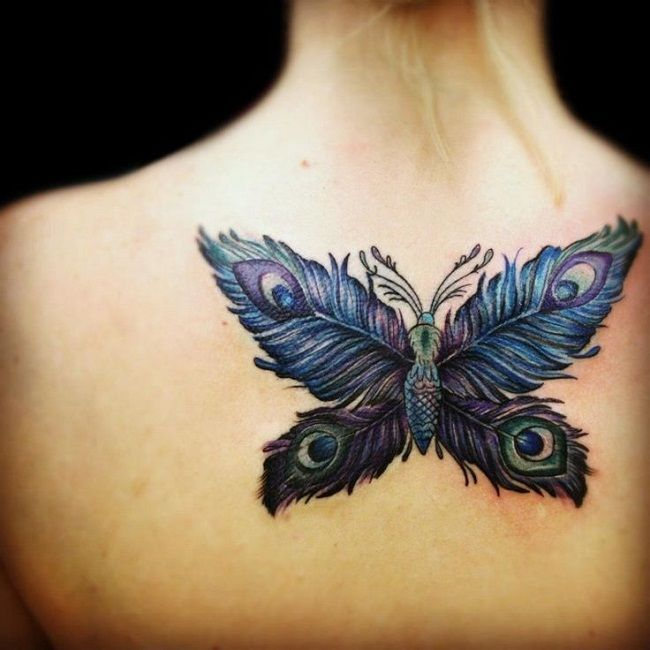 Butterfly with Peacock Feathers' Tattoo
