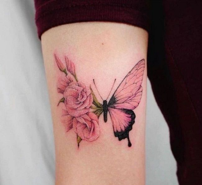 'Butterfly with half Pink Rose Wings' Tattoo