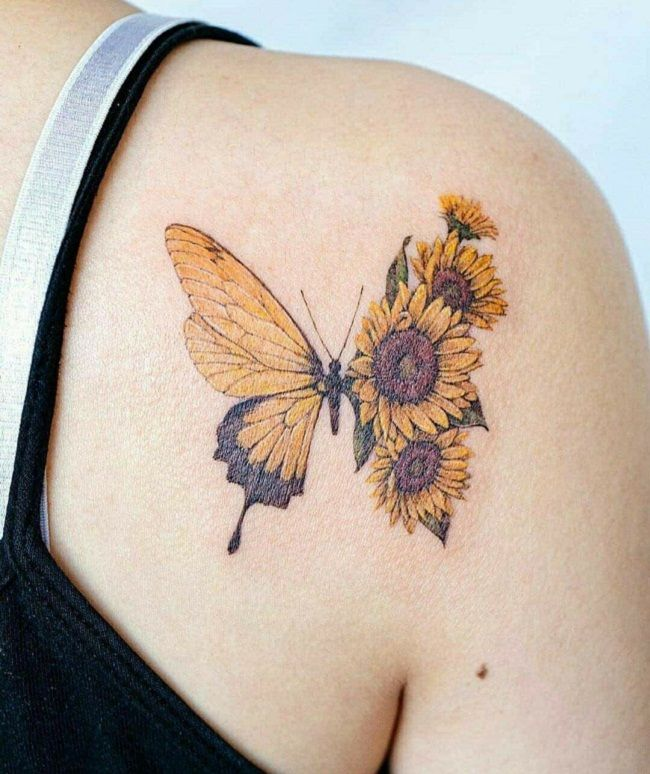 'Butterfly with half Sunflower Wings' Tattoo