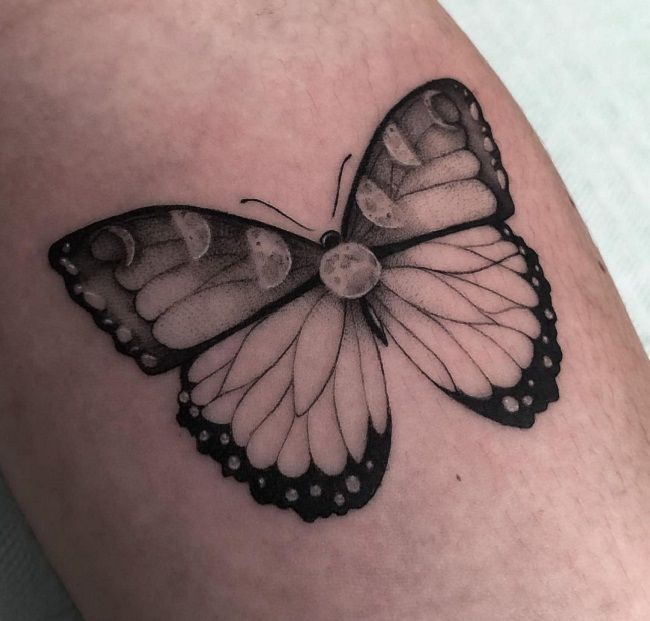 'Butterfly with the Moon Phases' Tattoo
