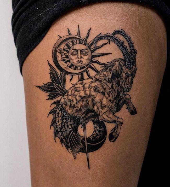 Capricorn Sign Goat Tattoo