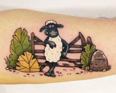 Cartoon Character Sheep Tattoo