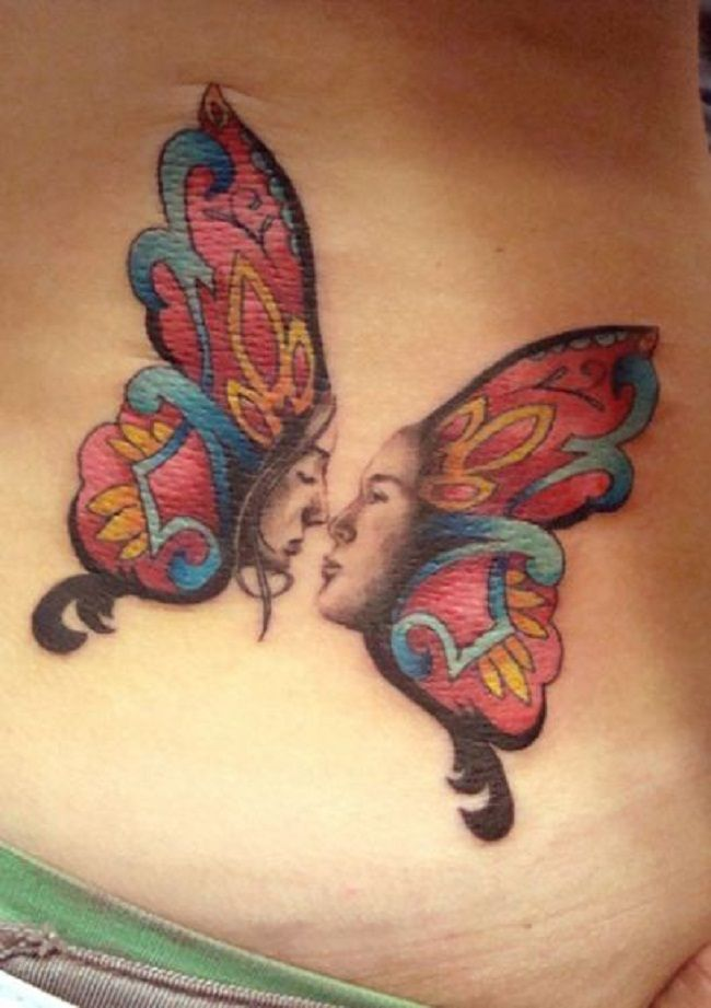 'Butterfly with Couple Face' Tattoo