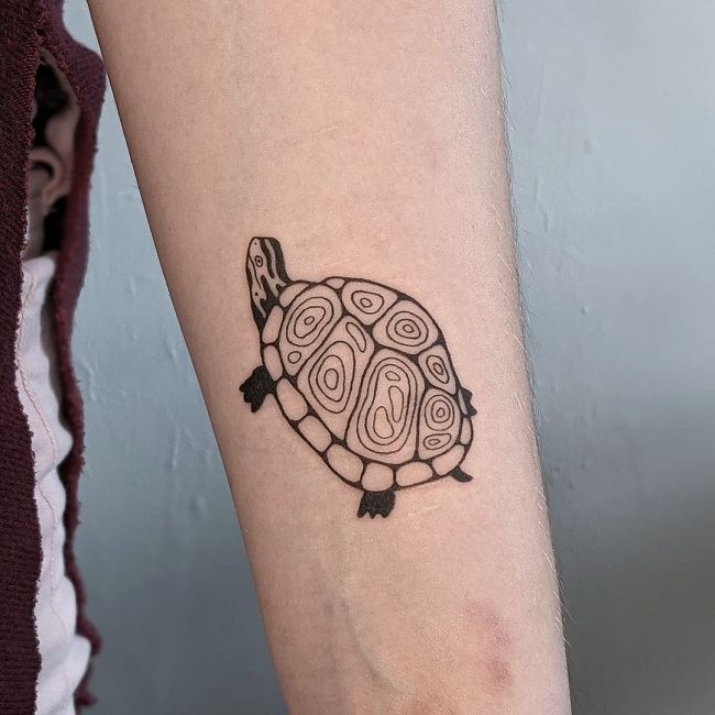 Darkly-Outlined Turtle Tattoo
