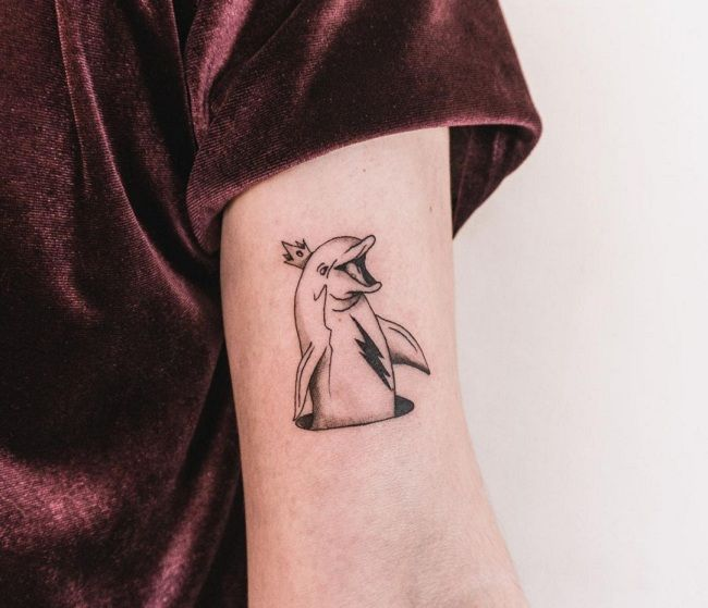 'Dolphin wearing a Crown' Tattoo
