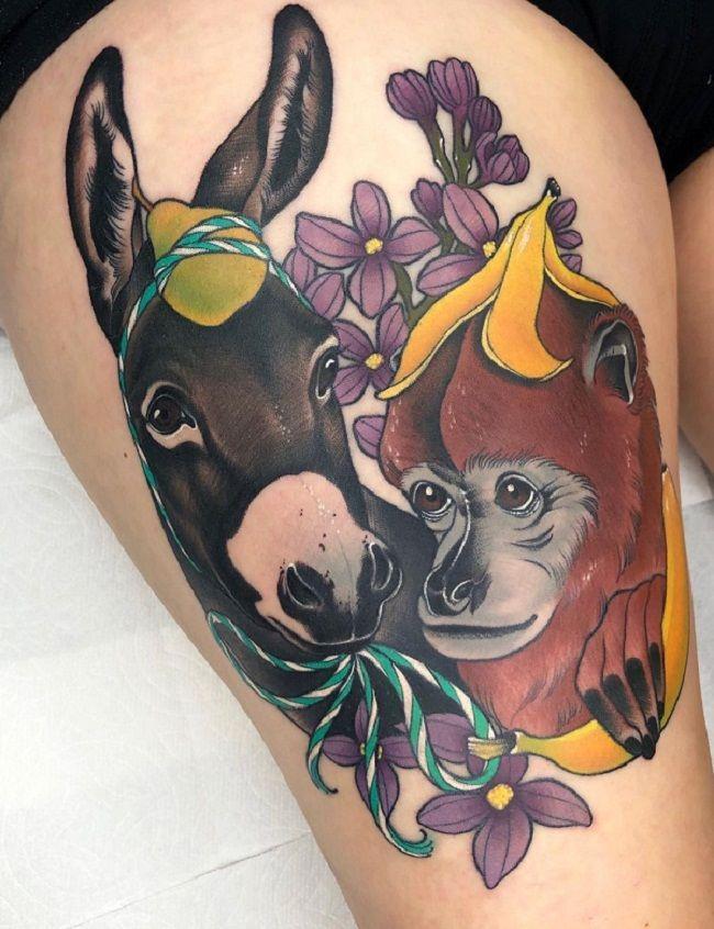Donkey-Monkey Tattoo