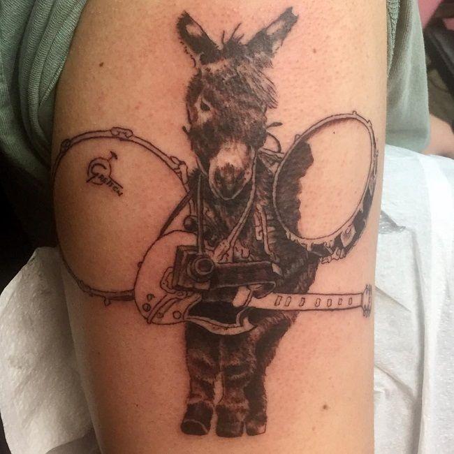 'Donkey holding Musical Instruments' Tattoo