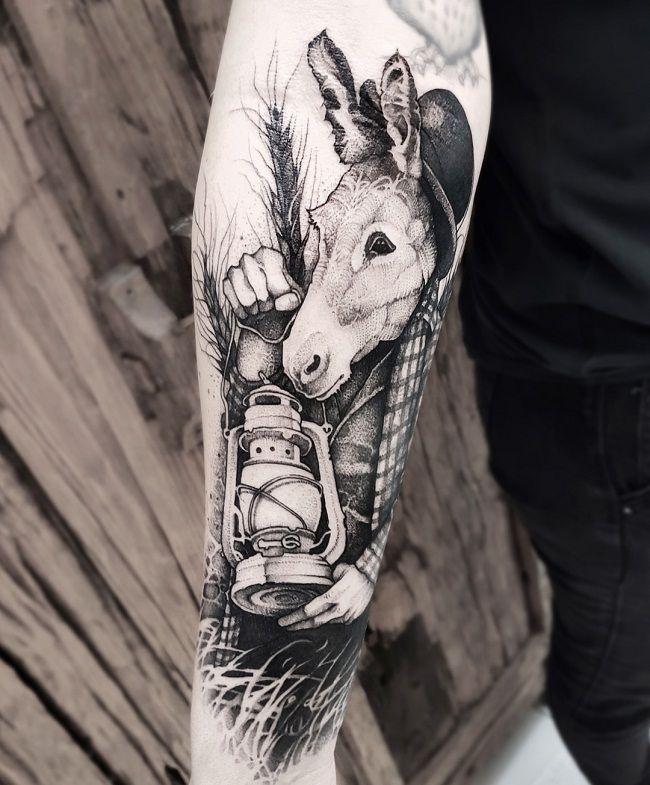 'Donkey holding a Lamp' Tattoo