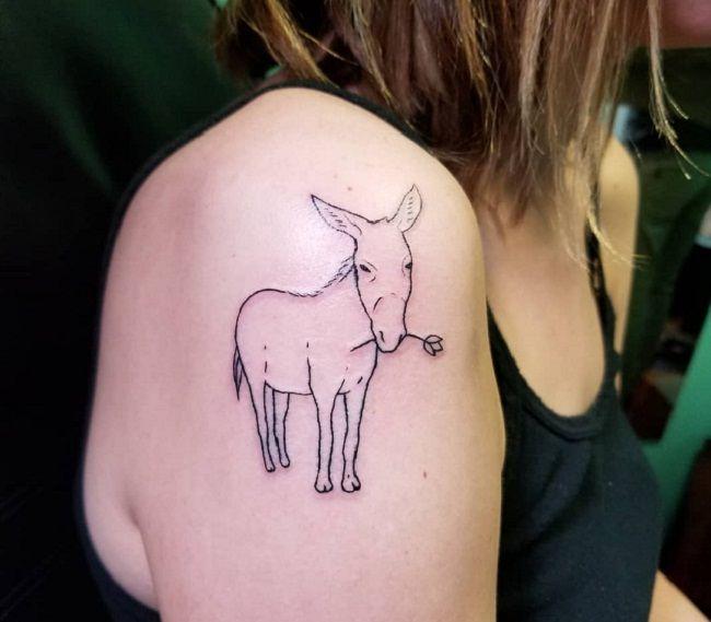 'Donkey holding a Tulip Flower' Tattoo