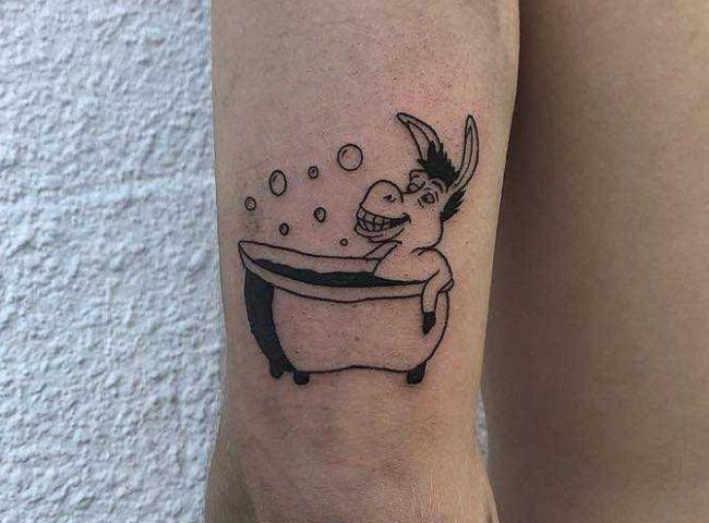 'Donkey in a Bath Tub' Tattoo