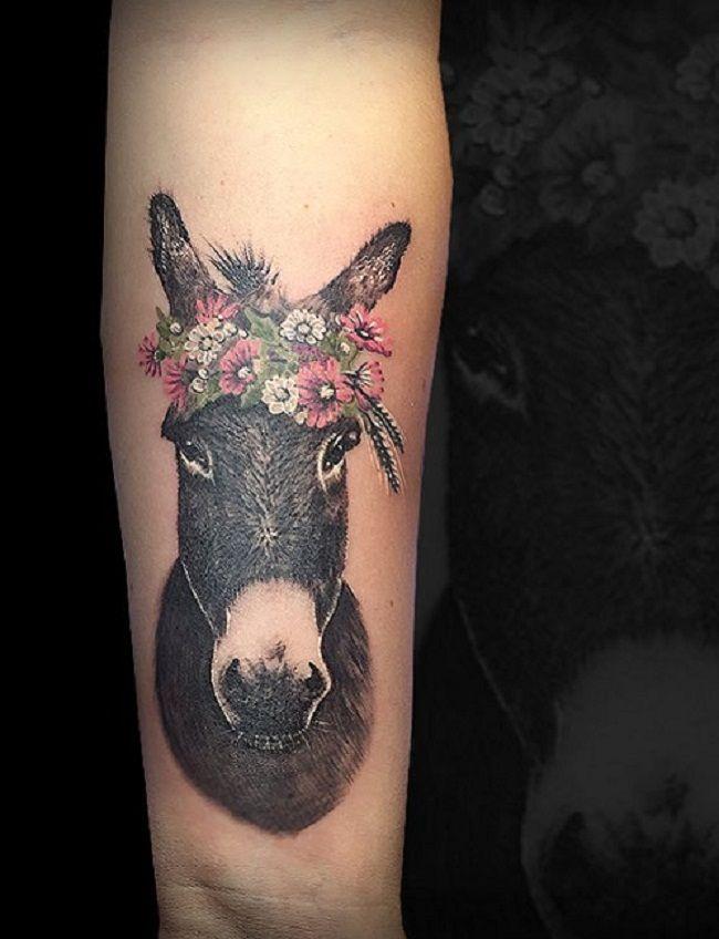 'Donkey wearing Floral Tiara' Tattoo