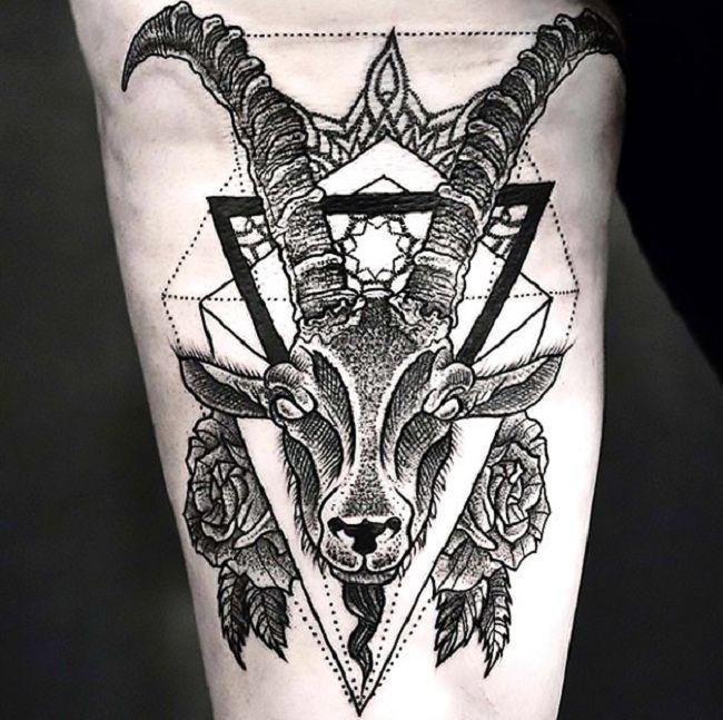Dot-Work Goat Tattoo