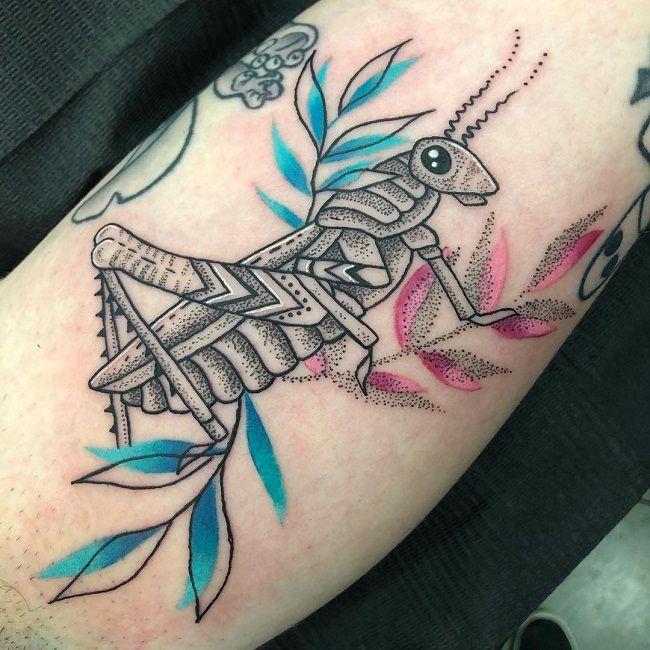 Dot Work Grasshopper Tattoo