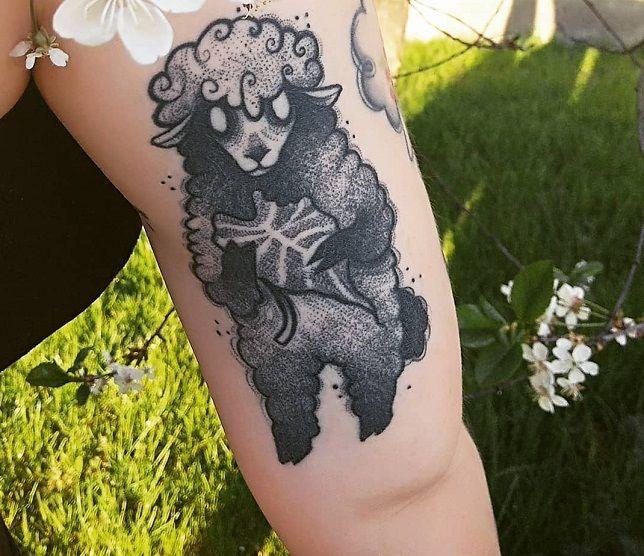 Dot-Work Sheep Tattoo