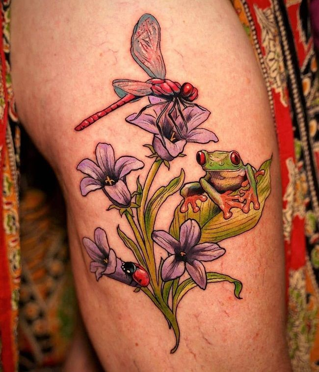 'Dragonfly with the Frog' Tattoo