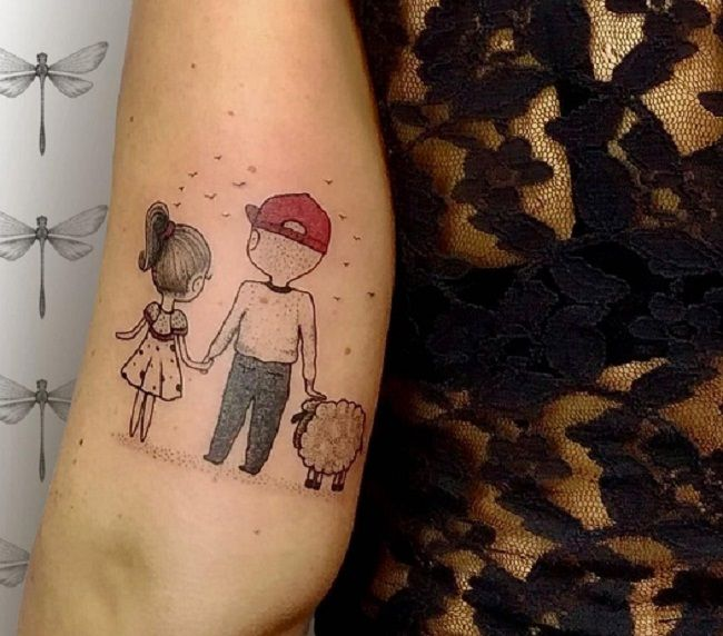 'Father, Daughter, and Sheep' Tattoo