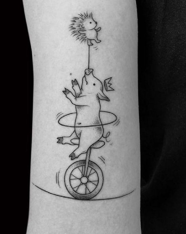 'Father playing with baby Pig' Tattoo