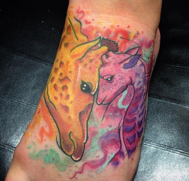 'Father with Baby Giraffe' Tattoo