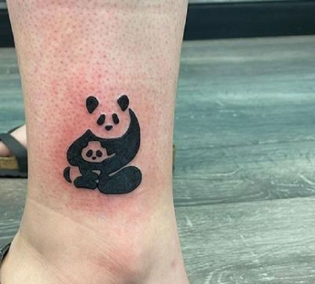 'Father with Baby Panda' Tattoo