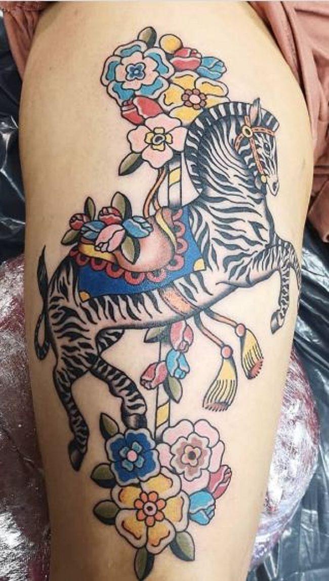 Floral Zebra Tattoo