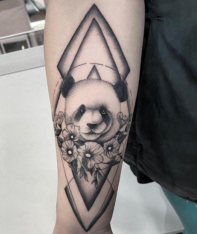 Floral shaded Panda Tattoo