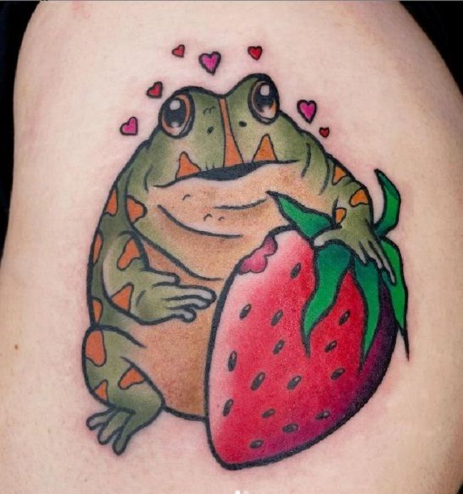 'Frog holding a Strawberry' Tattoo