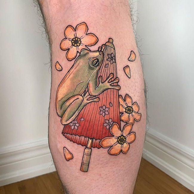 'Frog on the Oil-paper Umberella'Tattoo