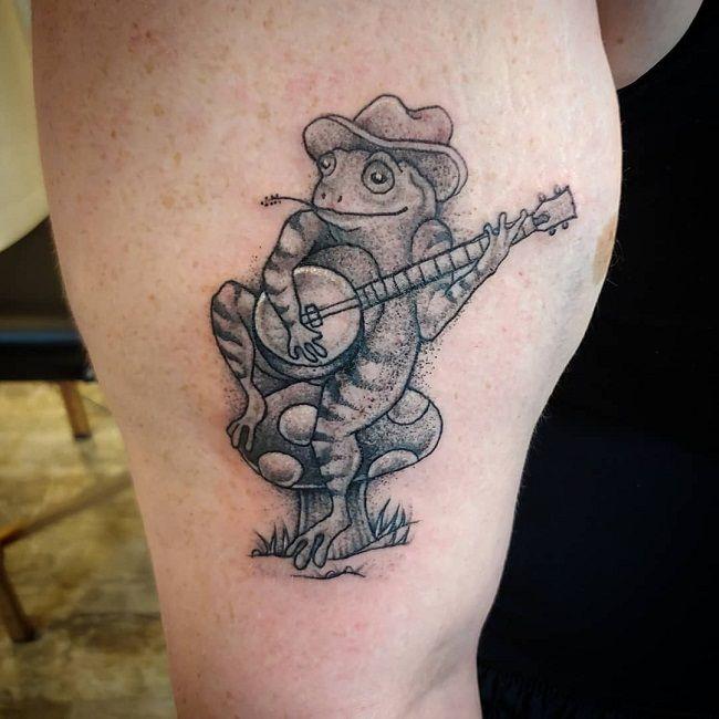 'Frog playing Banjo' Tattoo