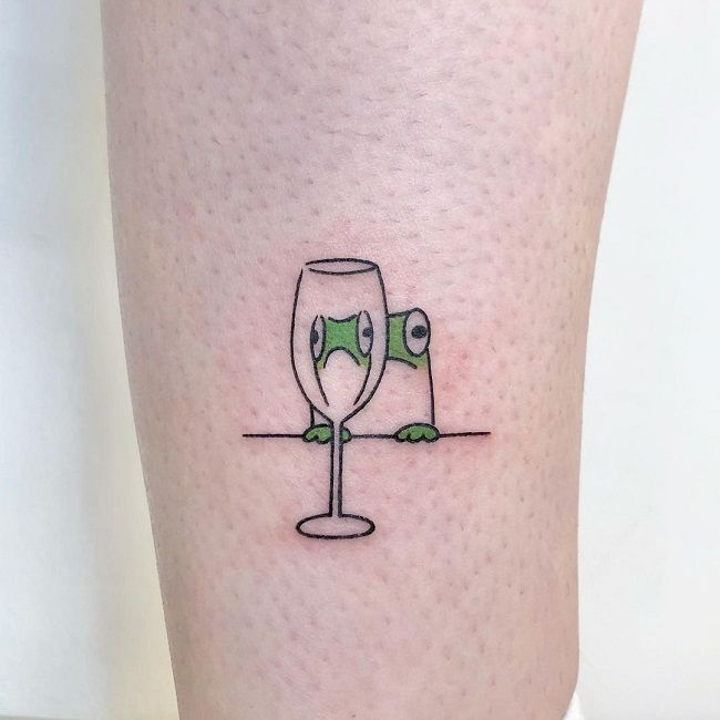 'Frog with the Port Glass' Tattoo