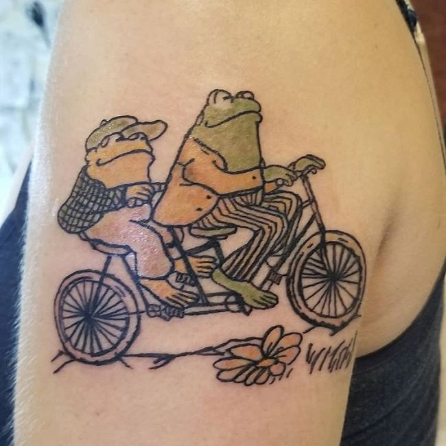 'Frogs riding a Bicycle' Tattoo