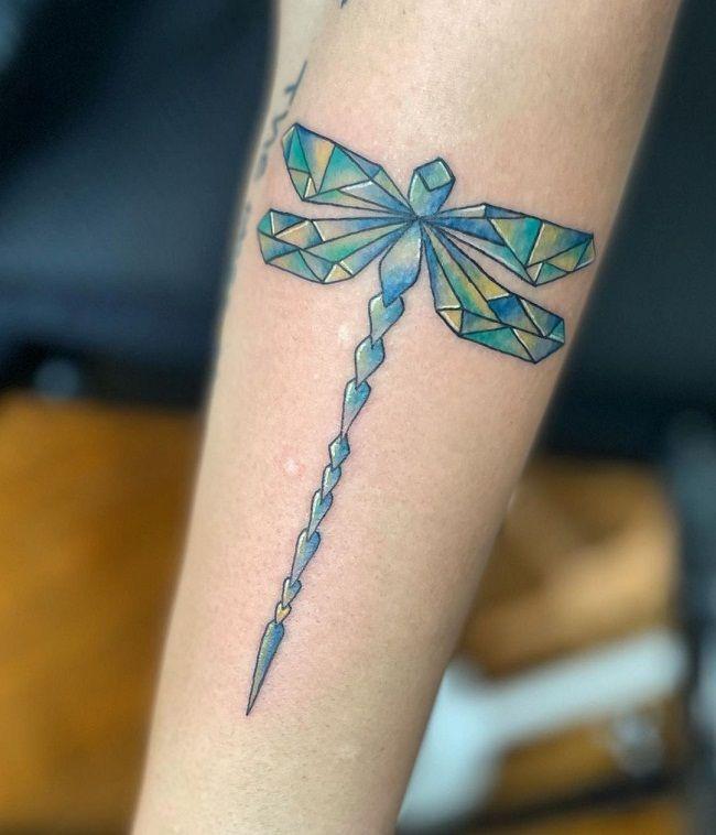 Geometrical Shaped Dragonfly Tattoo