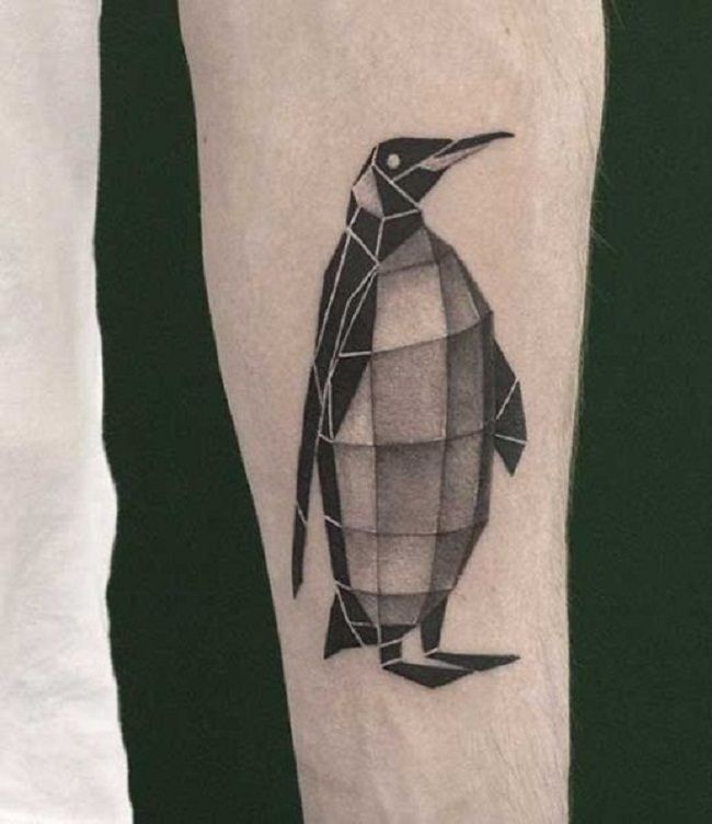Geometrical Shaped Penguin Tattoo