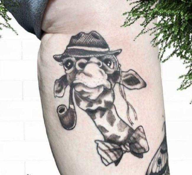 'Giraffe wearing a Hat and smoking Cigar' Tattoo