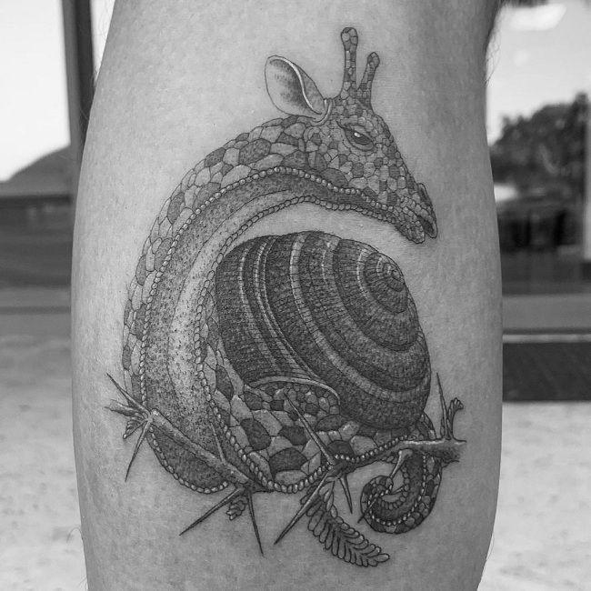 'Giraffe with Snail Body' Tattoo