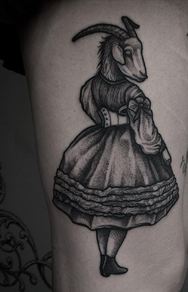 'Girl with a Goat Face' Tattoo