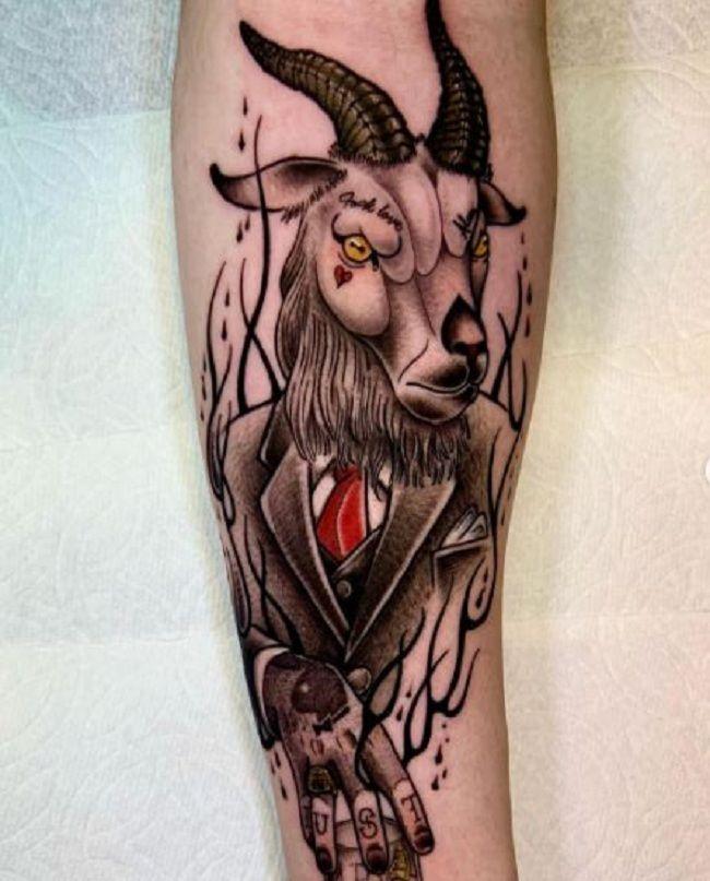 'Goat wearing Formals' Tattoo