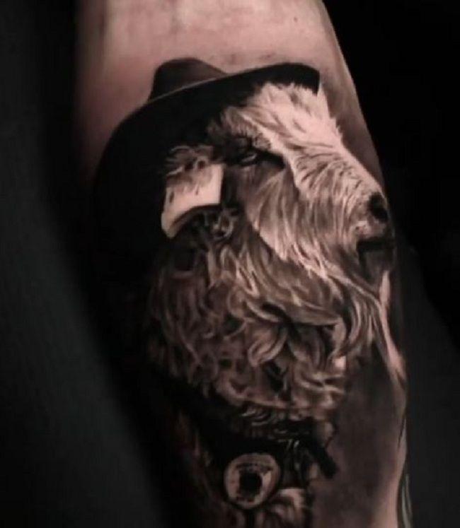 'Goat wearing a Hat' Tattoo