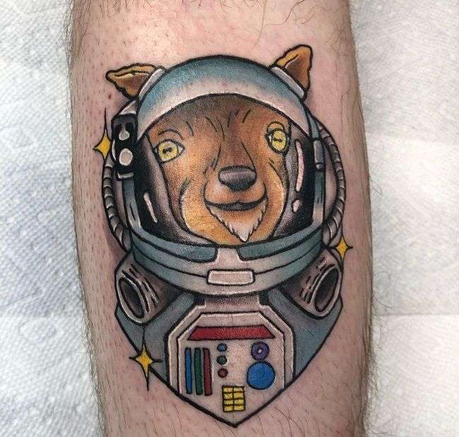 'Goat wearing a Spacesuit' Tattoo