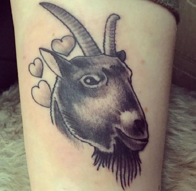 'Goat with Heart' Tattoo