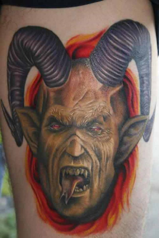 'Goat with Human Face' Tattoo