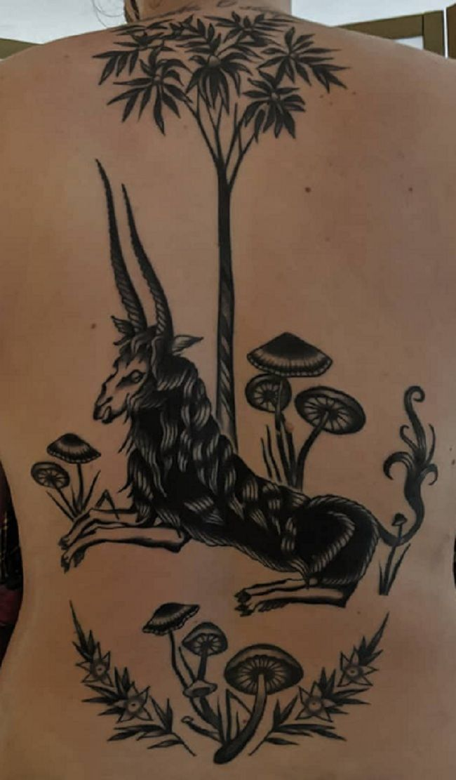 'Goat with Tree and Mushrooms' Tattoo