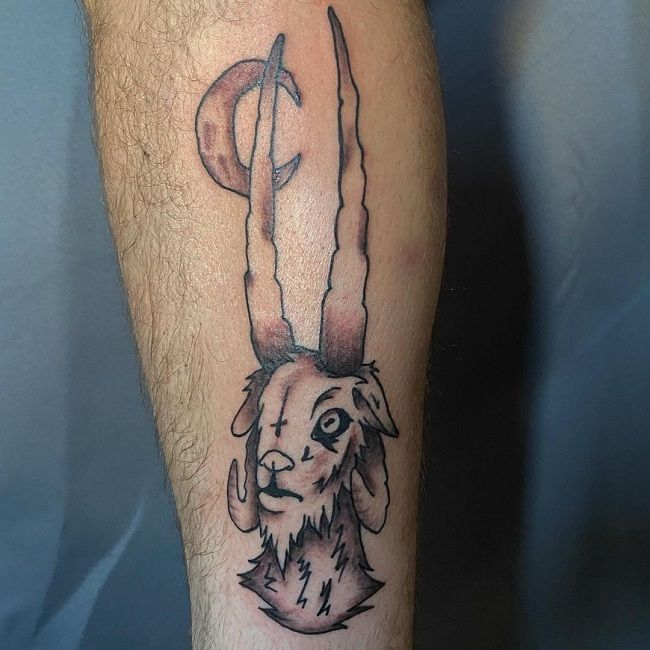 'Goat with a Crescent moon' Tattoo