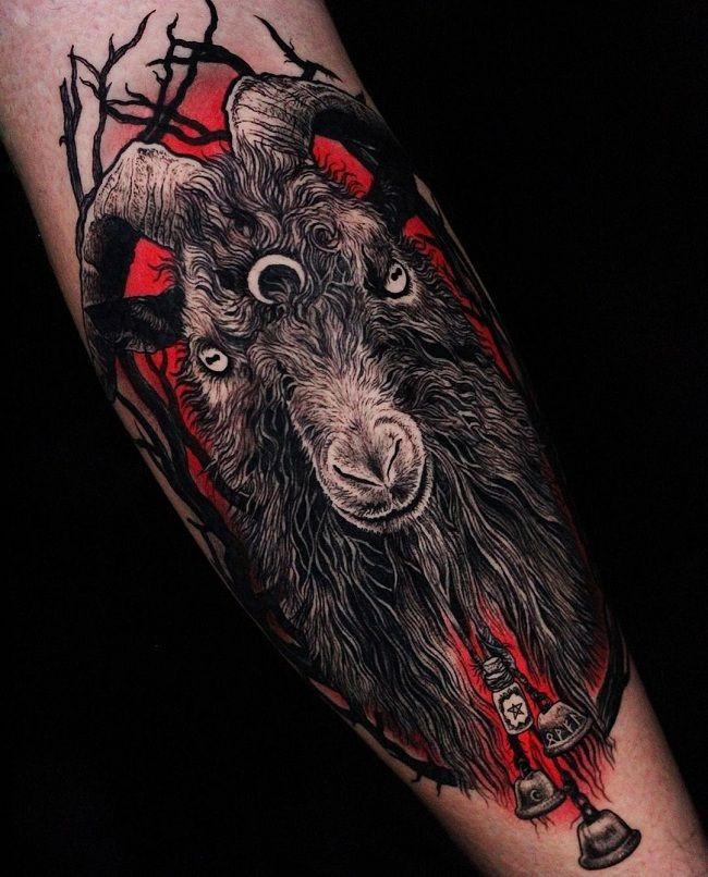 Gothic-Theme Goat Tattoo