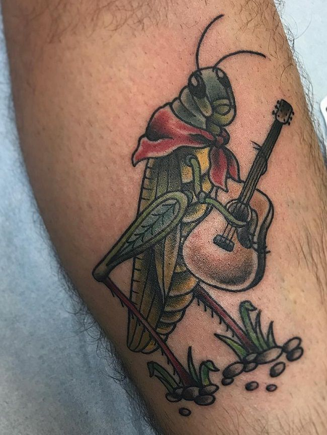 'Grasshopper holding a Guitar' Tattoo