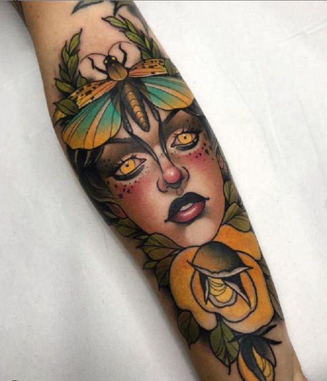 'Grasshopper on Women Head' Tattoo
