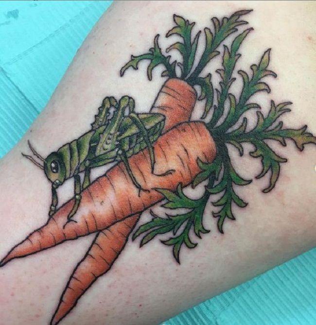 'Grasshopper on the Carrots' Tattoo