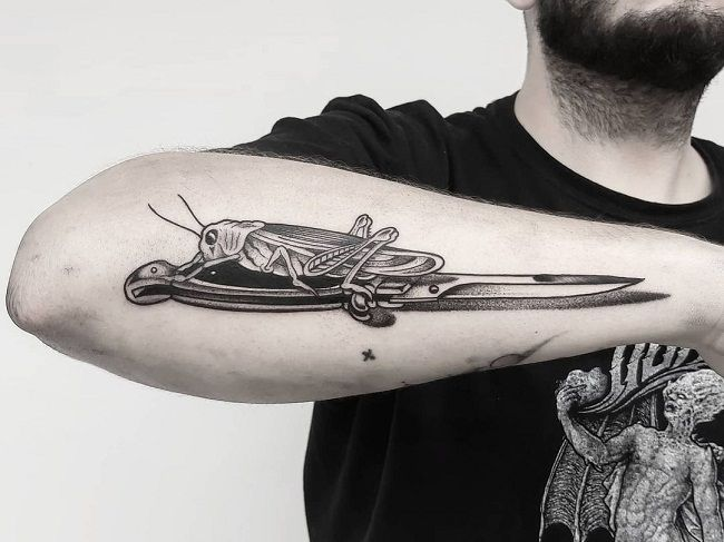'Grasshopper on the Knife' Tattoo