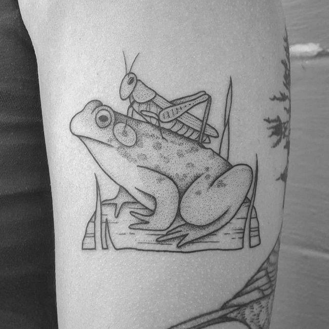 'Grasshopper sitting on the Frog' Tattoo