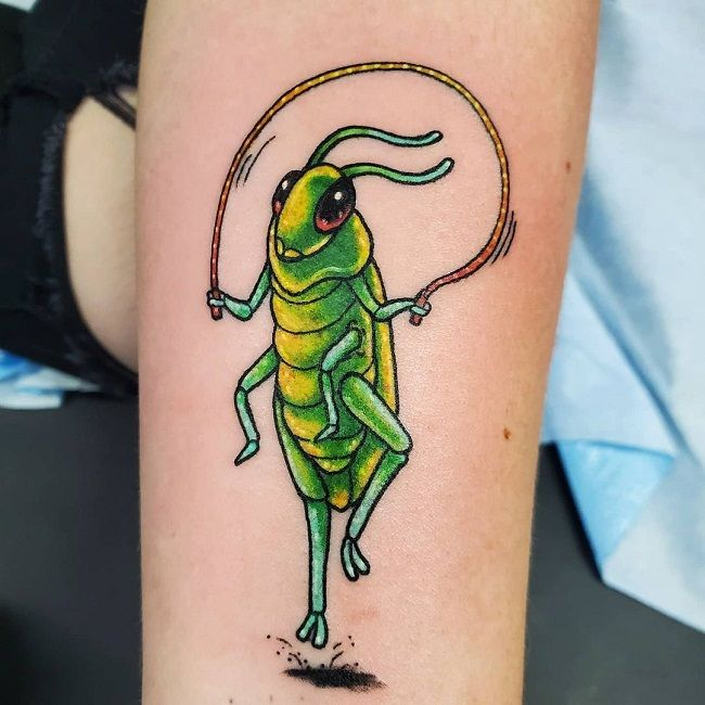 'Grasshopper with Jump Rope' Tattoo