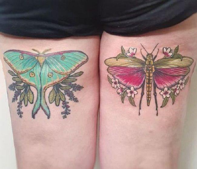 'Grasshopper with Luna Moth' Tattoo
